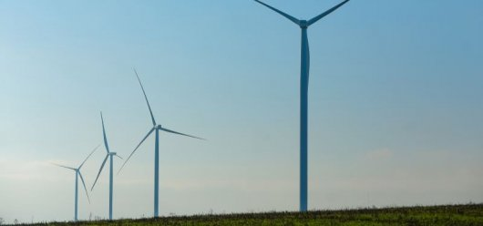 Ukraine's President takes part in the launch of wind turbines at Prymorska Wind Farm